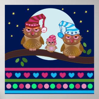 Cartoon Poster Sleepy Owls family