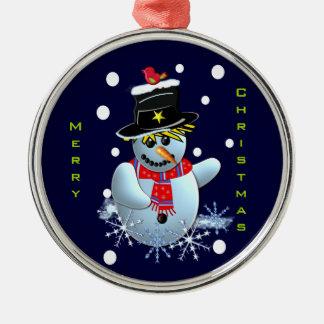 Cartoon Premium Round Ornament Snowman