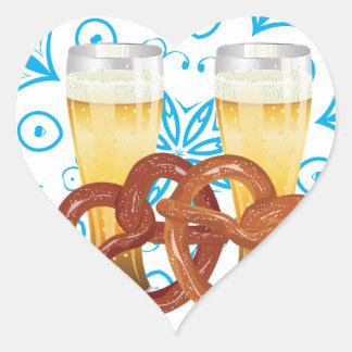 Cartoon Pretzel with Beer 2 Heart Sticker