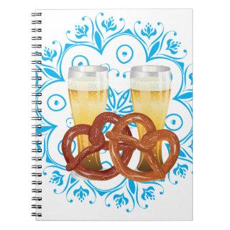 Cartoon Pretzel with Beer 2 Notebook