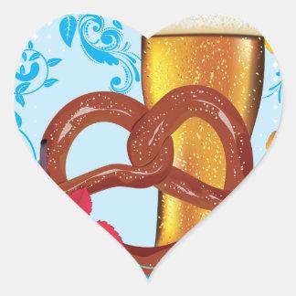 Cartoon Pretzel with Beer 3 Heart Sticker
