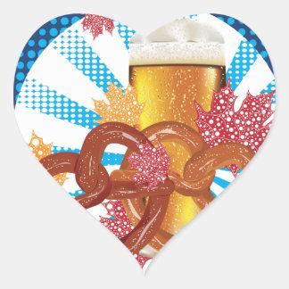Cartoon Pretzel with Beer Heart Sticker