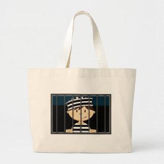 Cartoon Prisoner in Jail Cell Canvas Bag