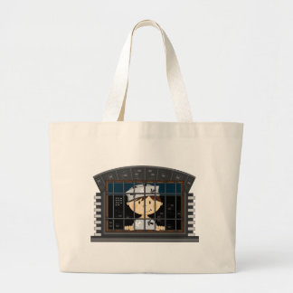 Cartoon Prisoner in Jail Cell Tote Bag