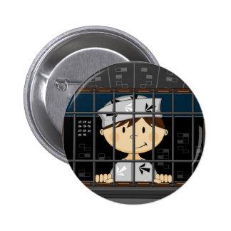 Cartoon Prisoner in Jail Cell Pinback Buttons