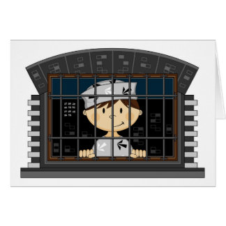 Cartoon Prisoner in Jail Cell Greeting Card