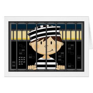 Cartoon Prisoner in Jail Cell Card