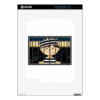 Cartoon Prisoner in Jail Cell Decal For iPad 2