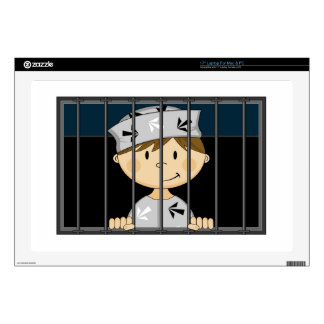 Cartoon Prisoner in Jail Cell Decal For Laptop