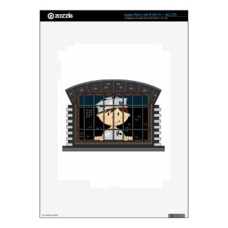 Cartoon Prisoner in Jail Cell Decals For iPad 3