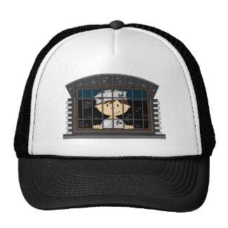 Cartoon Prisoner in Jail Cell Hat