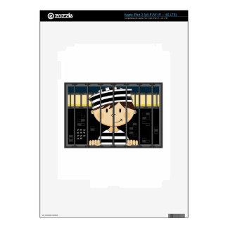 Cartoon Prisoner in Jail Cell iPad 3 Decals
