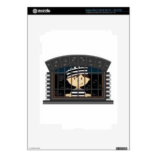 Cartoon Prisoner in Jail Cell iPad 3 Skins