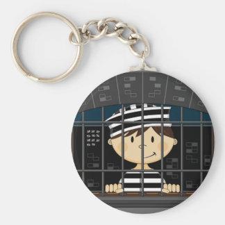 Cartoon Prisoner in Jail Cell Key Chain