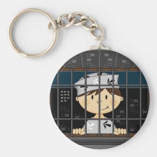 Cartoon Prisoner in Jail Cell Key Chains