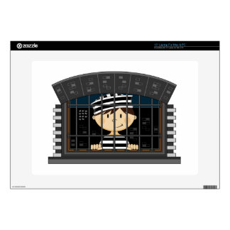 Cartoon Prisoner in Jail Cell Laptop Skin