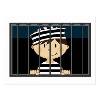 Cartoon Prisoner in Jail Cell Postcard