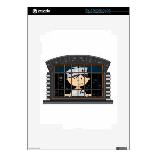 Cartoon Prisoner in Jail Cell Skins For The iPad 2