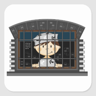 Cartoon Prisoner in Jail Cell Square Sticker