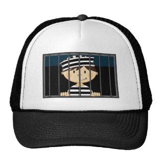 Cartoon Prisoner in Jail Cell Trucker Hat