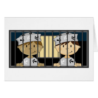 Cartoon Prisoners in Jail Cell Greeting Card