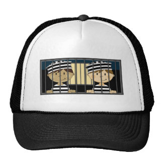 Cartoon Prisoners in Jail Cell Mesh Hats