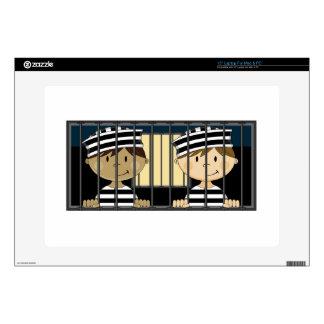 Cartoon Prisoners in Jail Cell Laptop Decals
