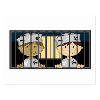 Cartoon Prisoners in Jail Cell Postcard