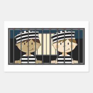 Cartoon Prisoners in Jail Cell Rectangular Sticker