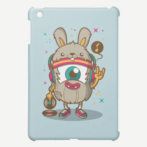 CARTOON PSYCHEDELIC HAMSTER RABBIT DJ with Vinyl Case For The iPad Mini