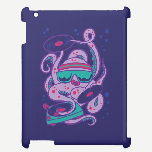 CARTOON PSYCHEDELIC OCTOPUS DJ with Turntable iPad Cover