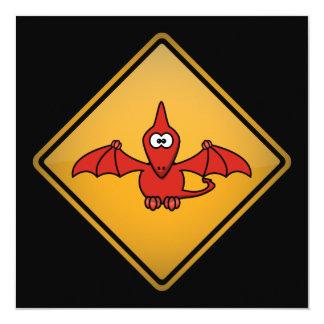 Cartoon Pterodactyl Warning Sign Card