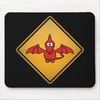 Cartoon Pterodactyl Warning Sign Mouse Pad