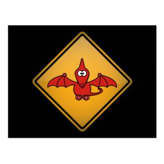 Cartoon Pterodactyl Warning Sign Post Card