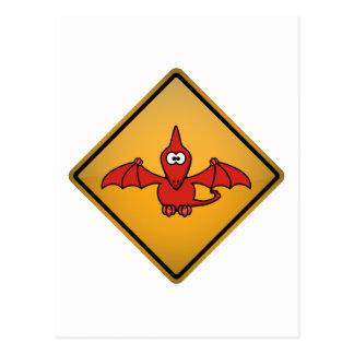 Cartoon Pterodactyl Warning Sign Postcard