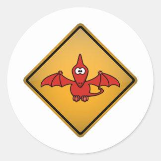 Cartoon Pterodactyl Warning Sign Stickers