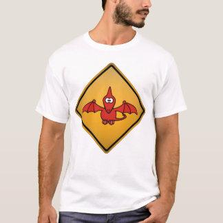 Cartoon Pterodactyl Warning Sign T-Shirt