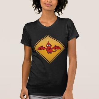 Cartoon Pterodactyl Warning Sign Tshirts