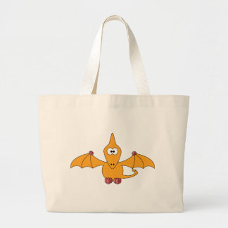 Cartoon Pterodactyl (yellow) Large Tote Bag
