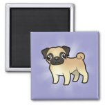 Cartoon Pug 2 Inch Square Magnet