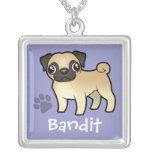 Cartoon Pug (add your pets name) Square Pendant Necklace