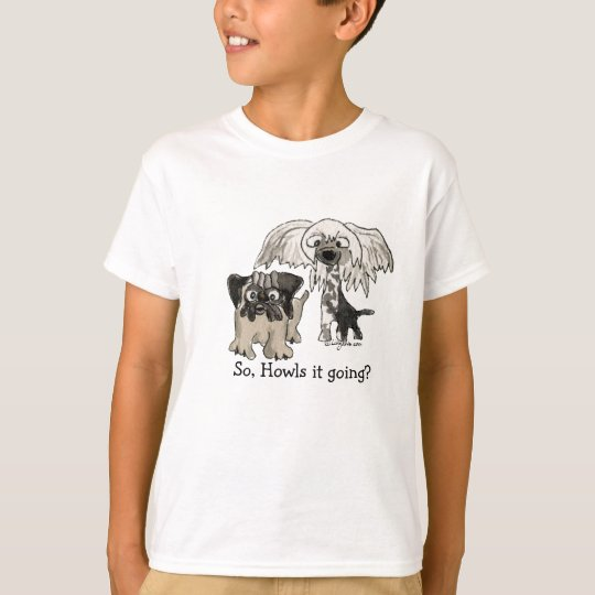 Cartoon Pug and Crested Chinese Puppy T-Shirt
