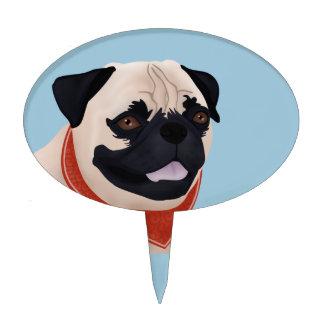 Cartoon Pug Cake Topper