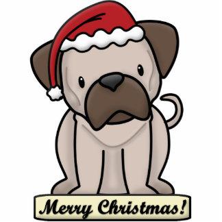 Cartoon Pug Christmas Ornament
