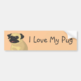 Cartoon Pug Face Car Bumper Sticker