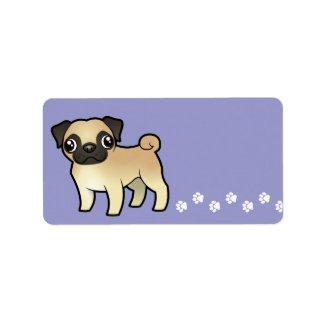 Cartoon Pug label