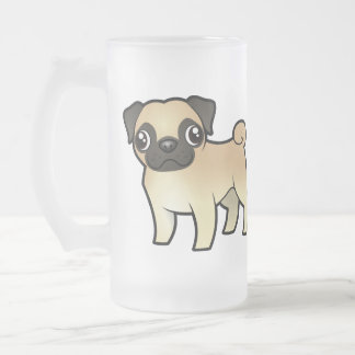 Cartoon Pug 16 Oz Frosted Glass Beer Mug