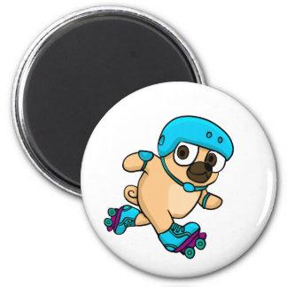 Cartoon pug on rollerblades magnet