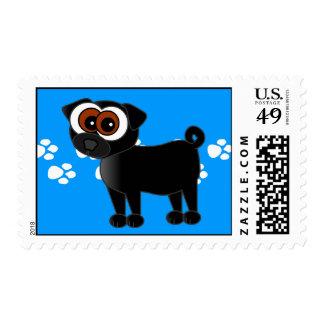 Cartoon Pug Pawprint Postage Stamp