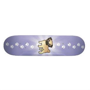 Cartoon Pug Skateboard